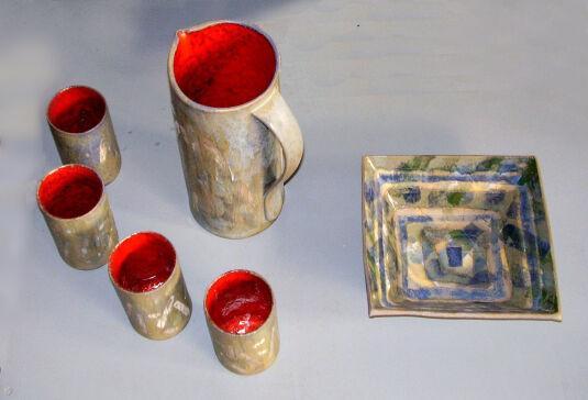 Keramik rote Becherx